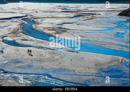 Sylvenstein Reservoir, low water, Bavaria, Upper Bavaria, Germany - Stock Photo