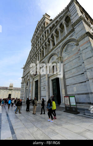 Summer view of the Duomo Cathedral and Leaning Tower of Pisa, with tourists, Square of Miracles, Pisa city UNESCO - Stock Photo