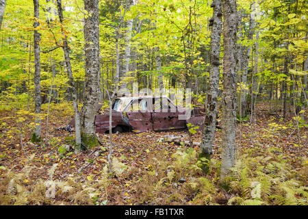 Abandoned car at the site of the old North Woodstock Civilian Conservation Corps Camp in North Woodstock, New Hampshire. - Stock Photo