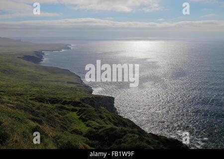 coastline near the Fogher Cliffs on Valentia Island, Co. Kerry, Ireland - Stock Photo
