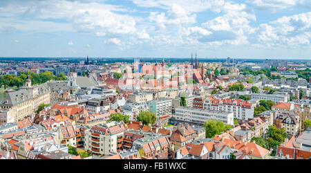 Panoramic view of the old town in Wroclaw, Poland - Stock Photo