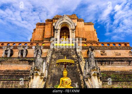 Chiang Mai, Thailand at Wat Chedi Luang. - Stock Photo