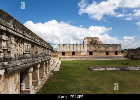 Nunnery Quadrangle, part of the ruins at Uxmal, Yucatan, Mexico. It is an ancient Maya city of the classical period. - Stock Photo