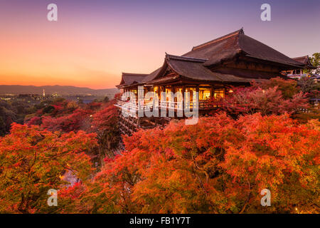 Kyoto, Japan at Kiyomizu-dera Temple during autumn season. - Stock Photo