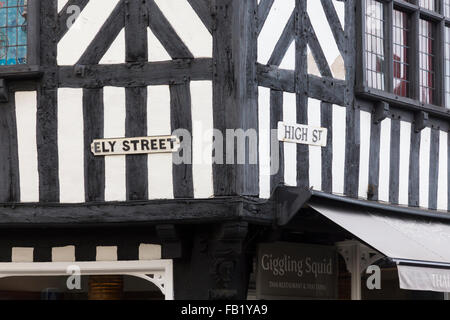 The junction of Ely Street and High Street in Stratford upon Avon - Stock Photo
