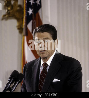 Washington, DC., USA, 25th June, 1985 President Ronald Reagan talks about the space shuttle program in the East - Stock Photo