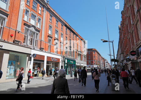 Henry Street and Spire Monument in Dublin, Ireland - Stock Photo