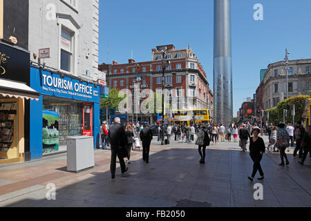 Tourism Office in the Henry Street and Spire Monument in the background, Dublin, Ireland - Stock Photo