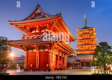 Asakusa, Tokyo at Sensoji Temple's Hozomon Gate and five storied pagoda. - Stock Photo