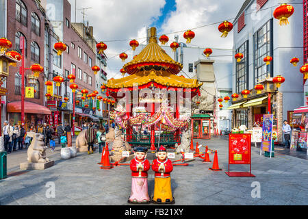 Chinatown district of Kobe at the square and pavilion. It is one of three designated Chinatowns in Japan. - Stock Photo