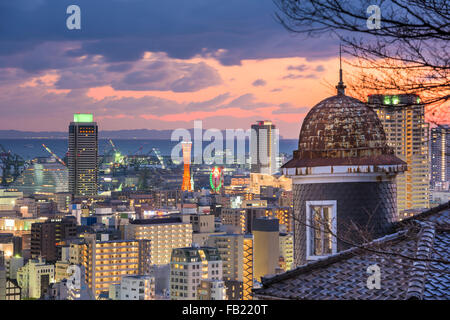Kobe, Japan city skyline from Kitano historic district. - Stock Photo