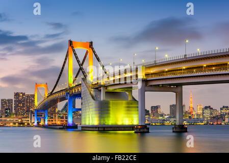 Tokyo, Japan at Rainbow Bridge spanning Tokyo Bay. Stock Photo