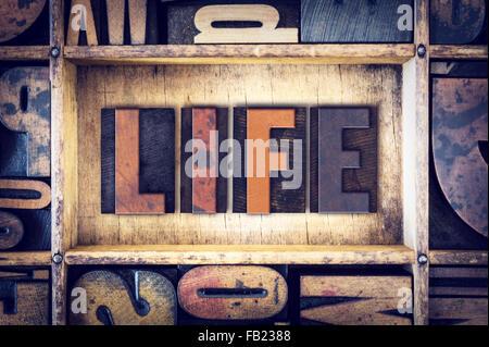 The word 'Life' written in vintage wooden letterpress type. - Stock Photo