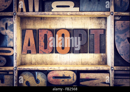 The word 'Adopt' written in vintage wooden letterpress type. - Stock Photo