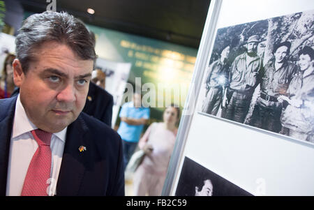 German Economy Minister and Vice-Chancellor Sigmar Gabriel (SPD) passes a picture of Fidel Castro at an exhibition - Stock Photo