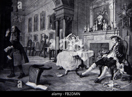 William Hogarth, The Breakfast Scene from Marriage à-la-mode 1743-1745 18th century satire. Illustration from the - Stock Photo
