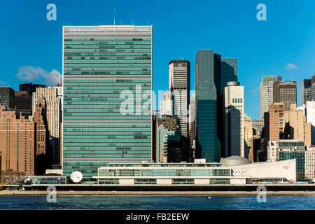 The Headquarters of the United Nations, Manhattan, New York, USA - Stock Photo