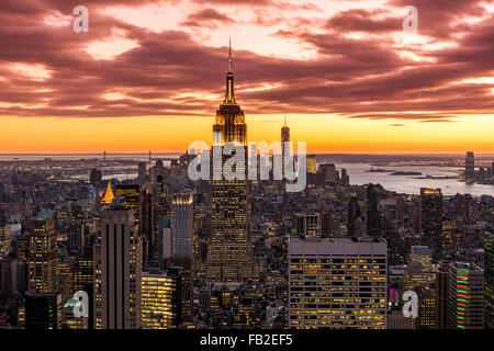 View over Midtown Manhattan skyline at sunset from the Top of the Rock, New York, USA - Stock Photo