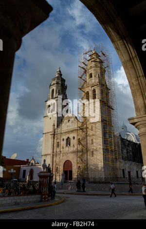 Cathedral in Plaza Principal in Campeche City or San Francisco de Campeche, the capital of Campeche state, Mexico. - Stock Photo
