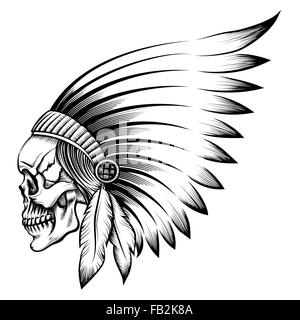 Indian chief skull in engraving style - Stock Photo