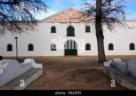 The Cloete Cellar building, Groot Constantia wine estate, Cape Town. The pediment gable is by the sculptor Anton - Stock Photo