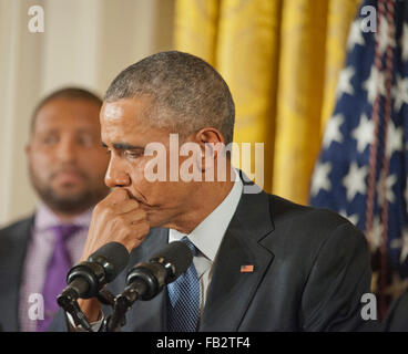 January 5, 2016 -  Washington, DC, United States: President Barack Obama holds a press conference to discuss his - Stock Photo