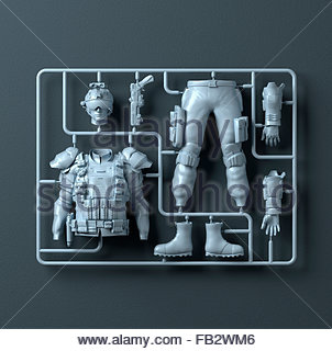 Plastic assembly kit for soldier - Stock Photo