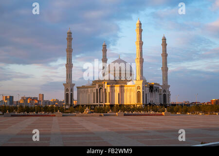 Central Asia, Kazakhstan, Astana, Hazrat Sultan Mosque, the largest in Central Asia, at dusk - Stock Photo