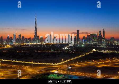 United Arab Emirates, Dubai, elevated view of the new Dubai skyline, the Burj Khalifa, modern architecture and skyscrappers - Stock Photo