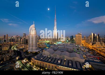 United Arab Emirates, Dubai, the Burj Khalifa, elevated view looking over the Dubai Mall - Stock Photo