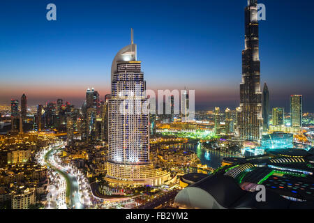 United Arab Emirates, Dubai, the Burj Khalifa, elevated view looking over the Dubai Mall - Stock Photo