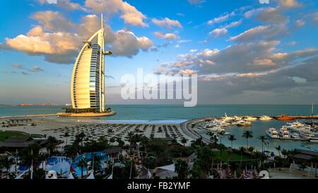 Jumeirah Beach, Burj Al Arab Hotel, Dubai, United Arab Emirates, Middle East - Stock Photo
