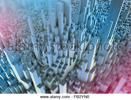Abstract white three dimensional city topography - Stock Photo