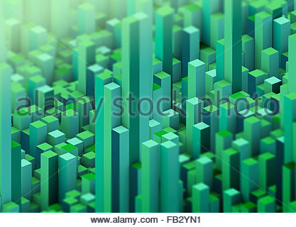 Abstract green three dimensional city topography - Stock Photo