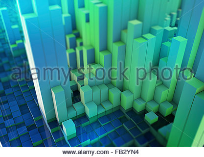 Abstract three dimensional city topography - Stock Photo
