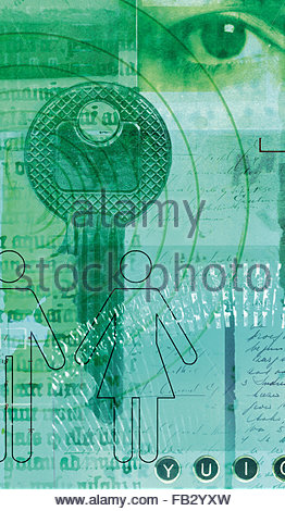 Collage of human eye, old-fashioned scripts, key and male and female stick figures - Stock Photo