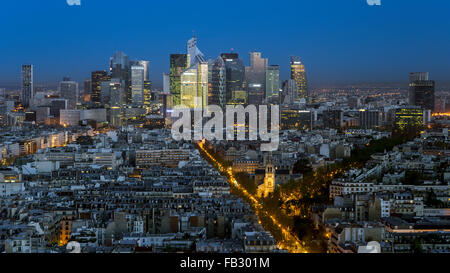 Elevated view of Paris with La Defense business district skyline, France, Europe - Stock Photo