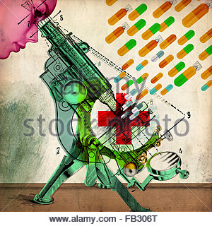 Woman looking through microscope with guided missile pills heading for red cross - Stock Photo