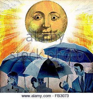 Gloomy businesspeople holding umbrellas oblivious to sunshine - Stock Photo