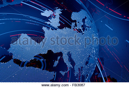 Data swirling around Europe on digital globe - Stock Photo