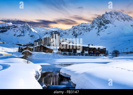 Evening landscape and ski resort in French Alps,Tignes, France - Stock Photo