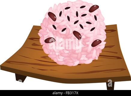 Traditional Japanese Cuisine, Sekihan or Sticky Rice Steamed with Red Beans on Wooden Sushi Plate, Served on Special - Stock Photo
