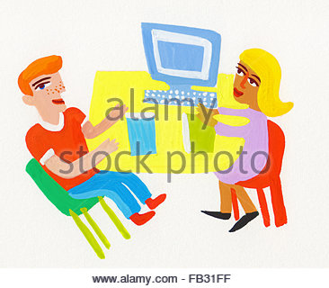 Office workers discussing business sitting at desk - Stock Photo