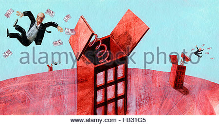 Businessmen being ejected from the top of buildings with piles of money - Stock Photo