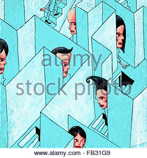 Businesspeople trapped in three dimensional maze - Stock Photo