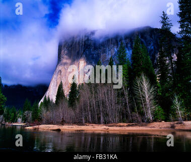 El Capitan Shrouded in Cloud Yosemite National Park California USA - Stock Photo
