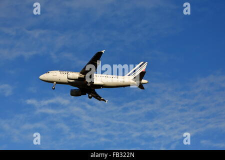 Air France Airbus A319-111 F-GRHN landing at Heathrow Airport, London, UK - Stock Photo