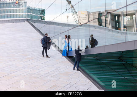 Fashion shoot at The Oslo Opera House, the home of The Norwegian National Opera and Ballet, and the national opera - Stock Photo