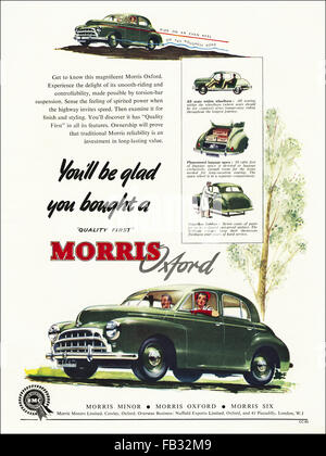Original full page colour vintage advert from 1950s. Advertisement from 1953 advertising Morris Oxford cars. 50s - Stock Photo