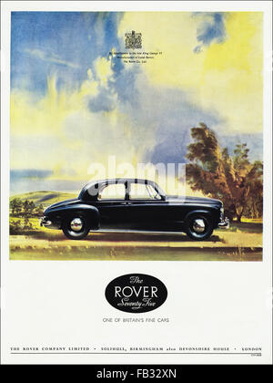 Original full page colour vintage advert from 1950s. Advertisement from 1953 advertising Rover Seventy Five cars. - Stock Photo